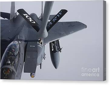 Air Refueling A F-15e Strike Eagle Canvas Print by Daniel Karlsson