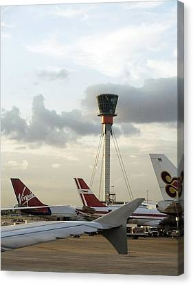 Air Traffic Control Tower, Uk Canvas Print by Carlos Dominguez