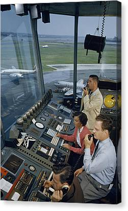 Air Traffic Controllers Direct Traffic Canvas Print by David Boyer