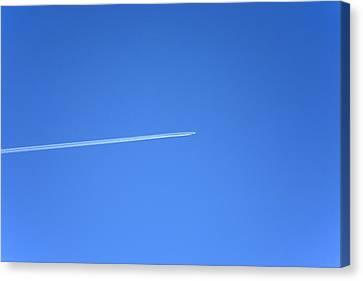 Aircraft Contrail Canvas Print by Victor De Schwanberg