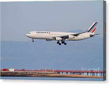 Airfrance Airlines Jet Airplane At San Francisco International Airport Sfo . 7d12219 Canvas Print by Wingsdomain Art and Photography
