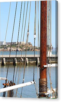 Alcatraz Island Through The Hyde Street Pier In San Francisco California . 7d14148 Canvas Print by Wingsdomain Art and Photography