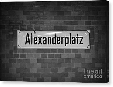 Alexanderplatz Berlin U-bahn Underground Railway Station Name Plates Germany Canvas Print by Joe Fox