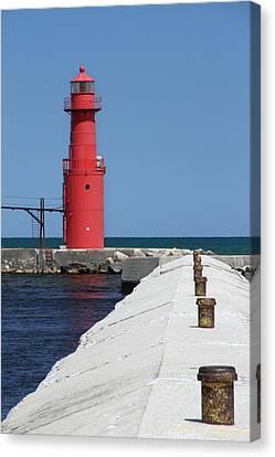 Algoma Lighthouse Pier Canvas Print by Mark J Seefeldt