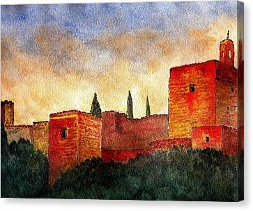 Alhambra At Sunset Canvas Print by Barbara Smith