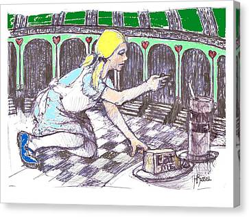 Alice Finds The Key Canvas Print by Herb Russel