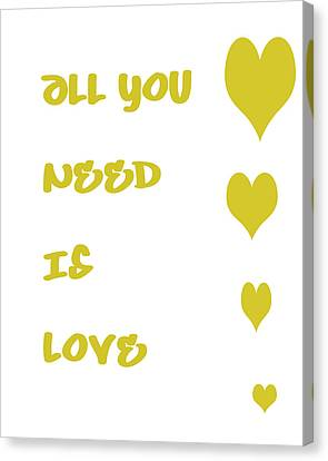 All You Need Is Love - Yellow Canvas Print by Georgia Fowler