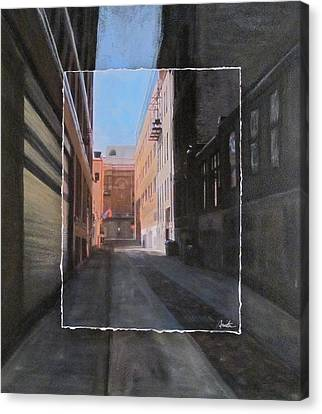 Alley Front Street Layered Canvas Print by Anita Burgermeister