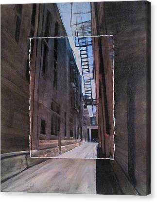 Alley With Fire Escape Layered Canvas Print by Anita Burgermeister