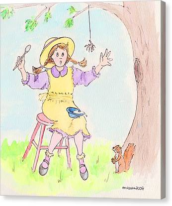 Along Came A Spider Little Miss Muffet Canvas Print by Marybeth Friel-Patton