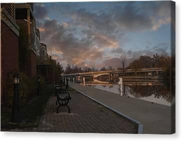 Along The Menasha Riverfront Canvas Print by Joel Witmeyer