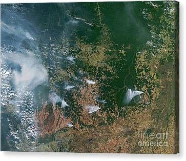 Amazon Basin Forest Fires, Satellite Canvas Print by NASA / Science Source