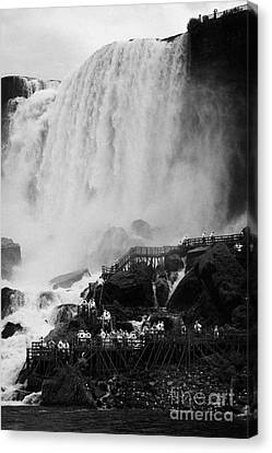 American Falls With Cave Of The Winds Walkway Niagara Falls New York State Usa Canvas Print by Joe Fox
