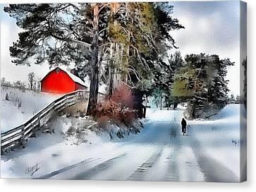Amish Boy On Bike Canvas Print by Tom Schmidt