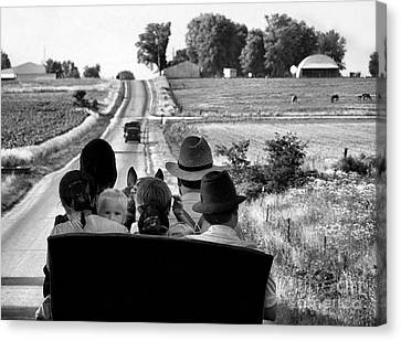 Amish Family Outing Canvas Print by Julie Dant