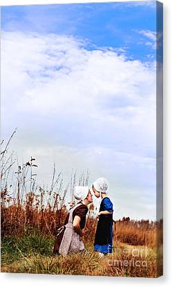Amish Mother And Child Canvas Print by Stephanie Frey
