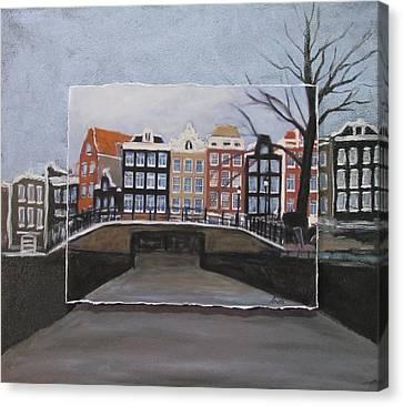 Amsterdam Bridge Layered Canvas Print by Anita Burgermeister