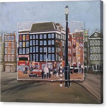 Amsterdam Corner Layered Canvas Print by Anita Burgermeister