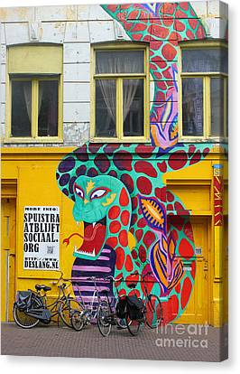 Amsterdam Snake Graffiti Canvas Print by Gregory Dyer