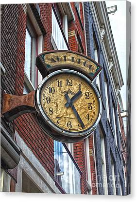 Amsterdam Vintage Deco Clock Sign Canvas Print by Gregory Dyer