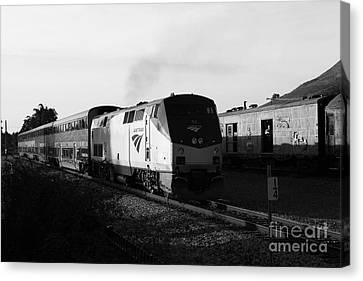 Amtrak Trains At The Niles Canyon Railway In Historic Niles District California . 7d10857 . Bw Canvas Print by Wingsdomain Art and Photography