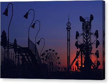 Amusement Ride Silhouette Canvas Print by Michael Gass