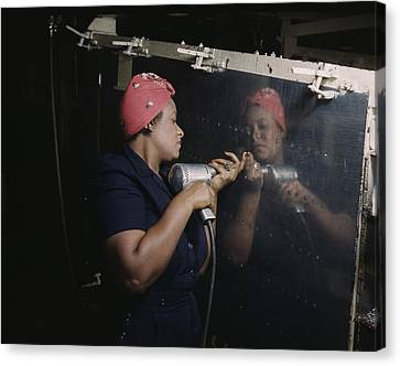 An African American Rosy The Riveter Canvas Print by Everett
