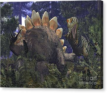 An Allosaurus Stumbles Upon A Grazing Canvas Print by Walter Myers