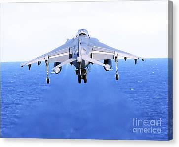 An Av-8b Harrier Jet Launches Canvas Print by Stocktrek Images