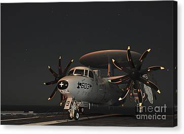 An E-2c Hawkeye Is Chained Canvas Print by Stocktrek Images