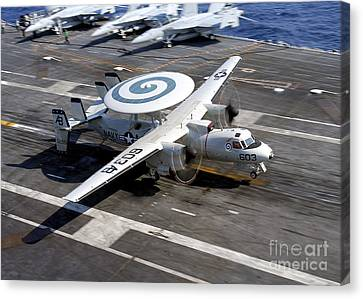 An E-2c Hawkeye Lands On The Flight Canvas Print by Stocktrek Images