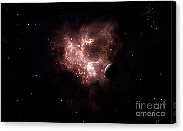 An Emission Nebula Is Viewed From Neaby Canvas Print by Brian Christensen
