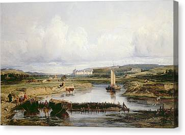 An Extensive River Landscape With A View Of The Chateau D'amboise Canvas Print by Victor-Marie-Felix Danvin