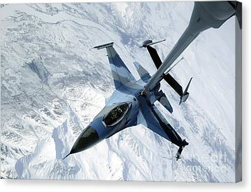 An F-16 Aggressor Sits In Contact Canvas Print by Stocktrek Images