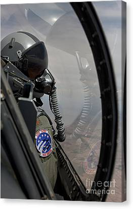 An F-16 Pilot Checks The Position Canvas Print by HIGH-G Productions