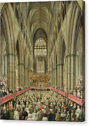 An Interior View Of Westminster Abbey On The Commemoration Of Handel's Centenary Canvas Print by Edward Edwards