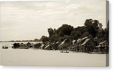 An Island Village On River Irrawaddy Canvas Print by RicardMN Photography