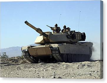 An M1a1 Main Battle Tank Canvas Print by Stocktrek Images