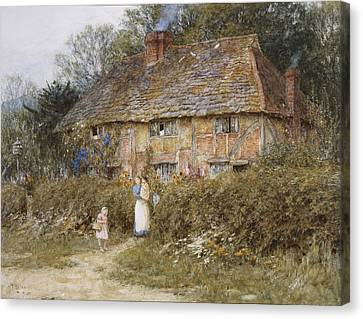 An Old Surrey Cottage Canvas Print by Helen Allingham