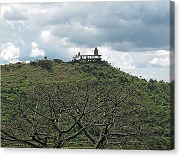 An Old Temple Building On Top Of A Hill With A Lot Of Clouds In The Sky Canvas Print by Ashish Agarwal