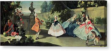 An Ornamental Garden With A Young Girl Dancing To A Fiddle Canvas Print by Filippo Falciatore