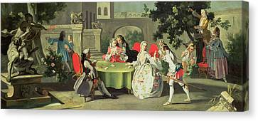 An Ornamental Garden With Elegant Figures Seated Around A Card Table Canvas Print by Filippo Falciatore