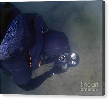 An Over The Shoulder View Of A Navy Canvas Print by Michael Wood