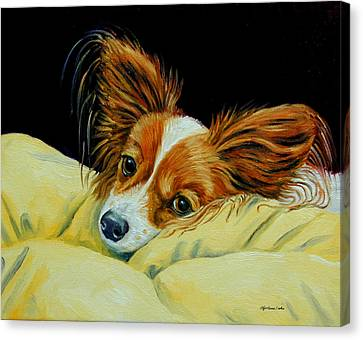 Angel Face - Papillon Canvas Print by Lyn Cook