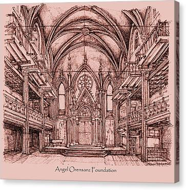 Angel Orensanz Centre In Pink  Canvas Print by Building  Art