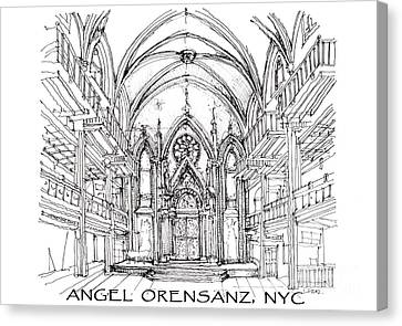 Angel Orensanz Sketch With Title Canvas Print by Building  Art