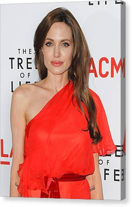 Angelina Jolie Wearing A Jenny Packham Canvas Print by Everett