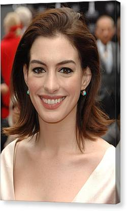 Anne Hathaway At The Press Conference Canvas Print by Everett