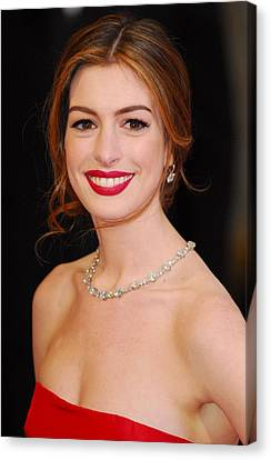 Anne Hathaway Wearing Tiffany Jewelry Canvas Print by Everett