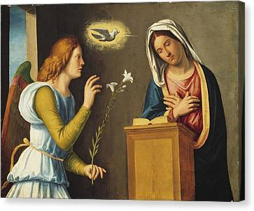 Annunciation To The Virgin Canvas Print by Giovanni Battista Cima da Conegliano